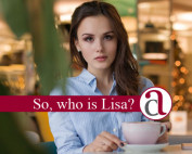Woman drinking coffee talking about LISA